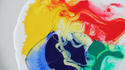 Colorful bubble acrylic paints, flowing colored paints, colorful paint drops, abstract colorful Footage