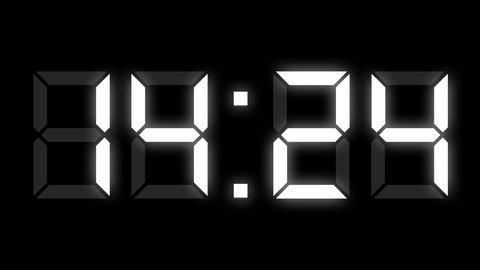 Digital clock timer full 24h time-lapse Animation