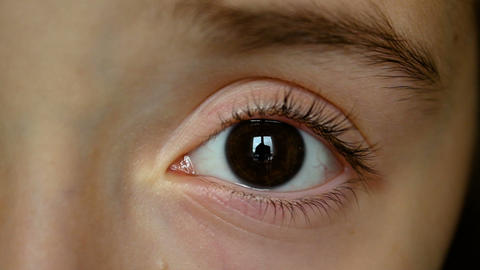 Girl child eye, dark brown left eye close up, Closeup of girl child eye Live Action