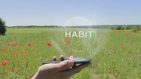 Hologram of Habit on a smartphone Live Action