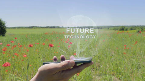 Hologram of Future technology on a smartphone Footage