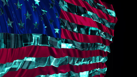 American Flag Made in Cyber Style Animation