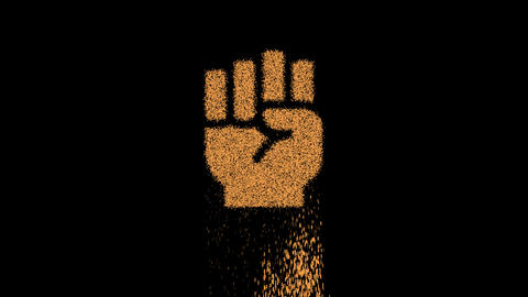 Symbol fist raised appears from crumbling sand. Then crumbles down. Alpha channel Premultiplied - Animation