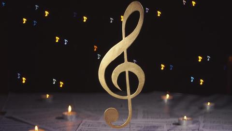 [alt video] Treble clef. Music note symbol