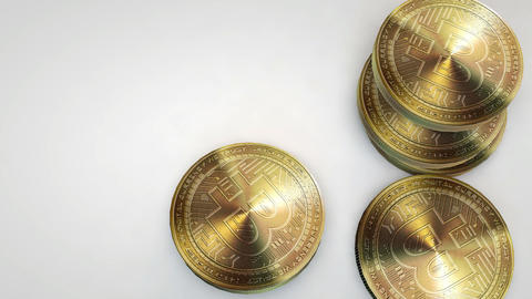 golden bytecoin coins falling on white background Animation