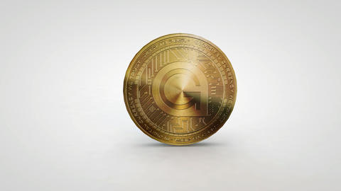 golden gamescredits coin spinning on table white background Animation