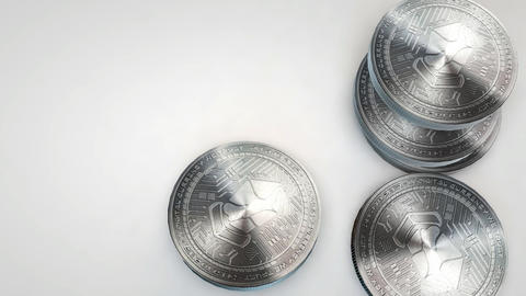 silver lisk coins falling on white background Animation