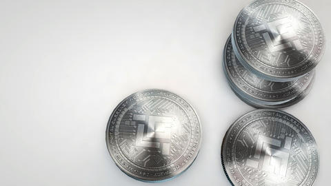 silver mobilego coins falling on white background Animation