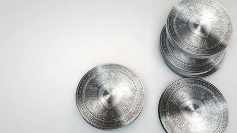 silver siacoin coins falling on white background Animation