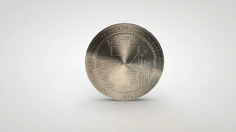 silver zcash z-cash coin spinning on table white background Animation