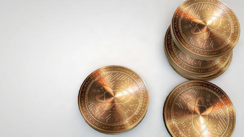 copper stellar lumens coins falling on white background Animation