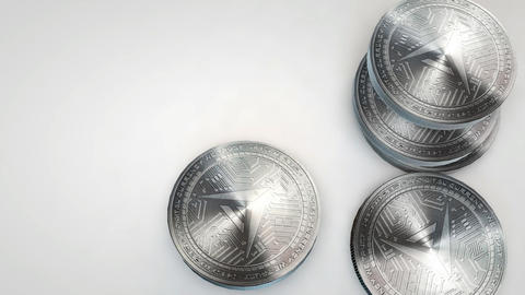 silver ark coins falling on white background Animation