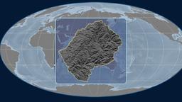 Lesotho (Mollweide). Bumps Animation