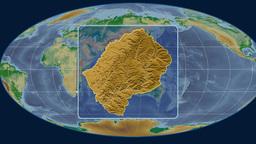 Lesotho (Mollweide). Bumps shaded Animation