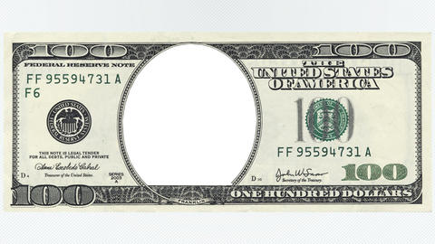 One hundred dollars bill animation with no face Animation