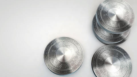 silver byteball coins falling on white background Animation