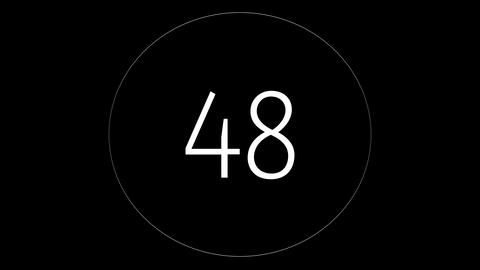 Countdown 60 to 0. Timer, chronometer on black background with white circle Animation