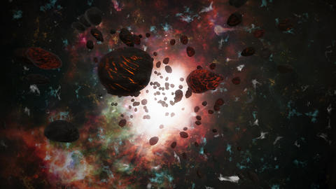 Meteorites, asteroids on space, universe. Fantasy video... Stock Video Footage