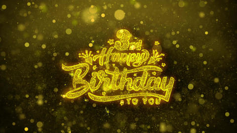 3rd Happy Birthday Wishes Greetings card, Invitation, Celebration Firework Live Action