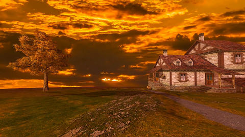 07 landscape of top of mountain with old house Animation