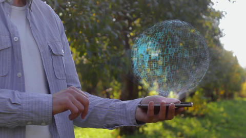 Man shows hologram with text Leadership Stock Video Footage