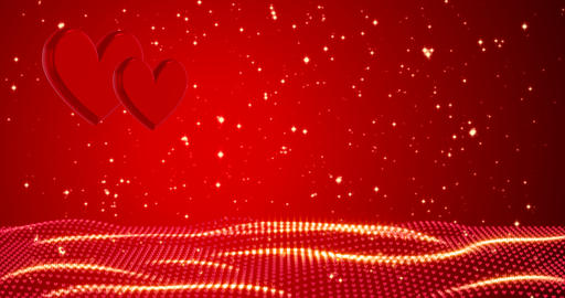 Romantic background with hearts and golden confetti. Happy valentine's day or Animation