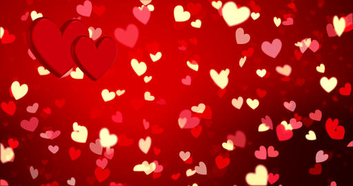 Romantic background with hearts and golden confetti.... Stock Video Footage
