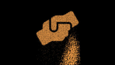 Symbol hands helping appears from crumbling sand. Then crumbles down. Alpha channel Premultiplied - Animation