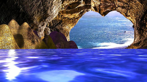 04 landscape of sea, sea cave with reflections in the water Animation