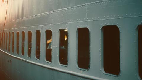 4K Detail of old war ship, battleship window. Iron, metal walls and windows vintage, nostalgic ship Footage