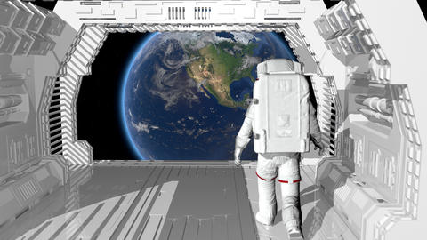 Alone astronaut walking in a futuristic sci fi corridor admiring the view Footage