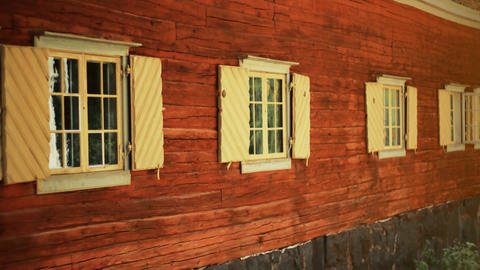 Old style red wooden window. Nordic, historical house in Stockholm, Skansen Footage