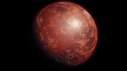 Mars, Sunrise over Planet Mars, Dark side of the red planet with shading. Stars, space, dark Animation
