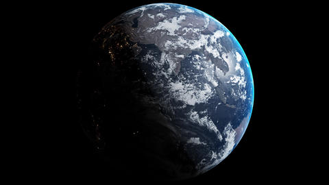 The Planet Earth with shading is rotating on black screen. Isolated 3D rendering about full WORLD Animation