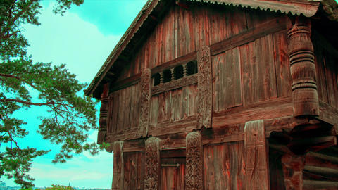 Old, wooden, historical Nordic house in Stockholm, Skansen. Scandinavian culture, folk and historic Footage