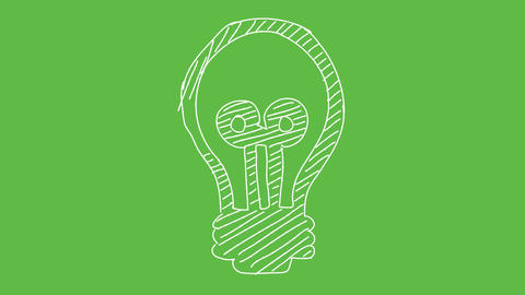 Business Symbol Bulb at green screen background. white and transparent animated Animación
