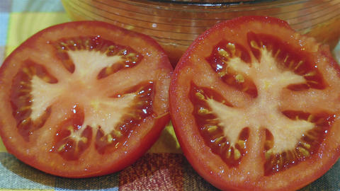 Tomato Sliced In Half Footage