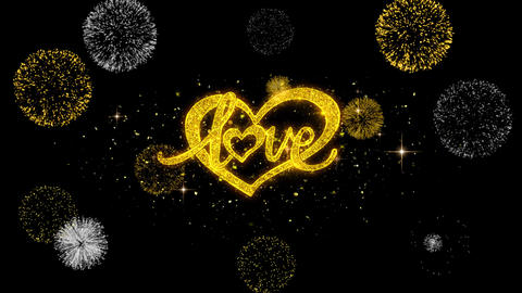 love valentines day heart Golden Text Blinking Particles with Golden Fireworks Footage
