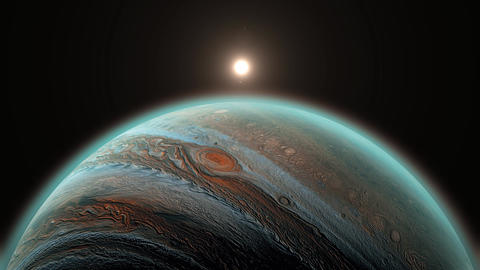 Jupiter planet 3d rendering. Solar system's gas giant, big and beautiful planet Animation