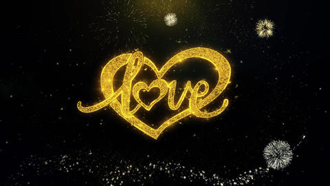 love valentines day heart Written Gold Particles Exploding Fireworks Display Footage