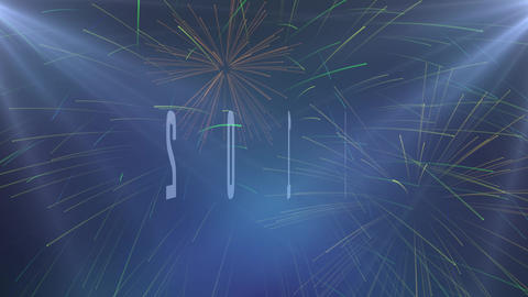 2019 loop animation with light rays. Blue rays and fireworks, sky rocket, roman candle Animation