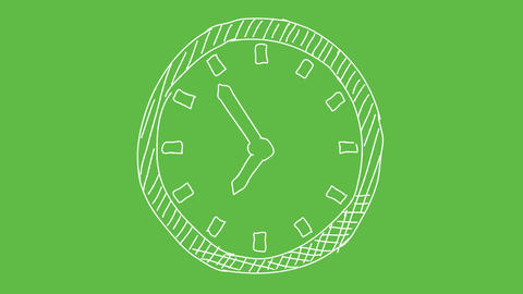 Business Symbol Clock at green screen background. white and transparent animated Animation