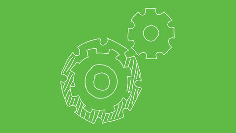 Business Symbol Gears at green screen background. white and transparent animated Animation