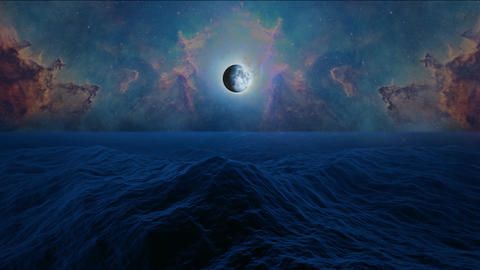 Moon, stars, moonshine, clouds and Orion nebula with big waves ocean or sea in night time Animation