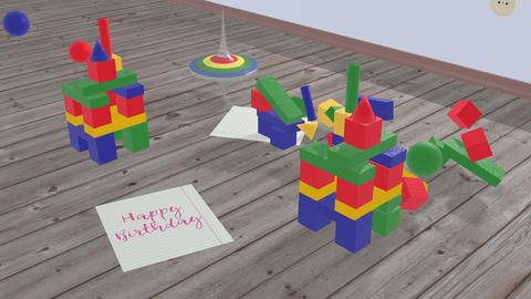 Kids spinning top and pink lettering - Happy Birthday Animation