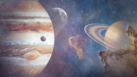 Planets of Solar system Jupiter, Mercury, Saturn, Venus and ocean with big waves. Surrealistic and Animation