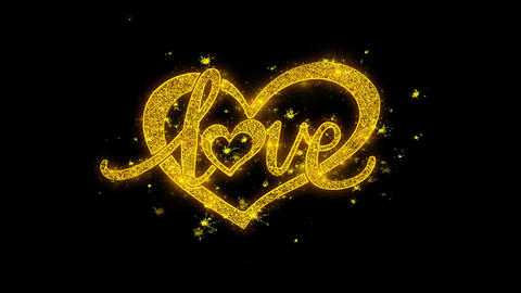 love valentines day heart Typography Written with Golden Particles Sparks Footage