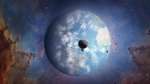 Landscape of world on sea or ocean. Surrealistic and fantastic earth animation. Moon and Nebula on Animation