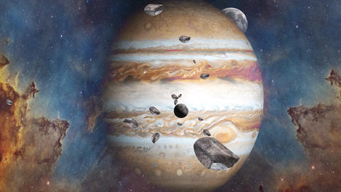 Giant planet of Solar system Jupiter and it's satellites Europa and Io. Surrealistic rendering with Animation