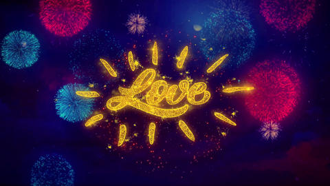 Happy Valentine's day Love Greeting Text Sparkle Particles on Colored Fireworks Footage